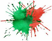 Red And Green Blots Of Watercolor Paint