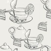 Seamless texture with a picture of a tea set with cake