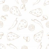 Pizza ingredients seamless pattern sepia on white