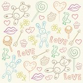 Seamless pattern with love doodles