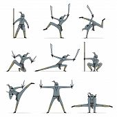 foto of ninja  - Collection of ninja weapon with cute ninja character holding katana - JPG