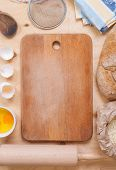 Baking Background With Cutting Board, Eggshell, Flour, Rolling Pin