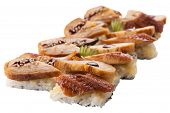 Traditional Sushi Sashimi On A White Background