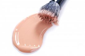 picture of foundation  - Liquid Beige Make Up Foundation on White Background Smeared - JPG