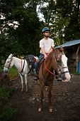 European Or American Man On Horseback In Costa Rica