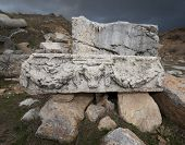 pic of ram  - Carved stone piece with ram and graland at Antioch Pisidian in Turkey - JPG