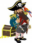 stock photo of plunder  - a pirate with aparrot and chest of treasure - JPG
