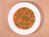 image of mung beans  - Green mung beans and red raw lentil on a white plate - JPG