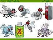 stock photo of blowfly  - Cartoon Humorous Illustration of Funny Flies Insects Set - JPG