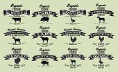 stock photo of poultry  - set vector template in retro style for packaging with livestock and poultry - JPG