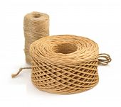 image of cord  - roll of twine cord and thread isolated on white background - JPG