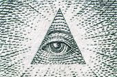 stock photo of all seeing eye  - close up macro eye from one dollar banknote - JPG