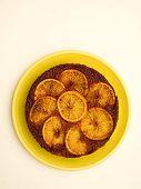 picture of upside  - close up of orange upside down cake - JPG