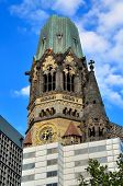 stock photo of memorial  - Ruins of Kaiser Wilhelm Memorial Church in Berlin destroyed by Allied bombing and preserved as memorial Berlin - JPG