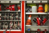 picture of fire brigade  - Fire and rescue Equipment in Fire Engine - JPG