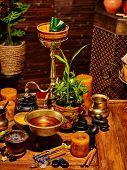 foto of panchakarma  - Luxury ayurvedic spa massage still life with bowl - JPG