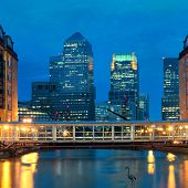 picture of london night  - Canary Wharf business district in London at night over Thames River - JPG