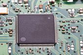 stock photo of processor  - Electronic circuit board with processor close up