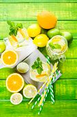 picture of infusion  - Infused water with fresh citrus fruits and ice - JPG