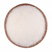 picture of white sugar  - White sugar in a wooden bowl on a white background - JPG