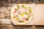 image of lunch box  - Fast food pizza background - JPG