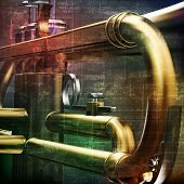 stock photo of trumpet  - abstract green grunge vintage sound background with trumpet - JPG