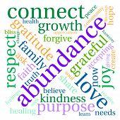 stock photo of abundance  - Abundance word cloud on a white background - JPG