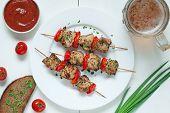 picture of kebab  - Delicious roasted turkey kebab skewer barbecue meat with vegetables - JPG