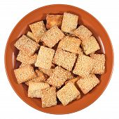 picture of sesame seed  - Cookies with sesame seeds on a ceramic plate on a white background - JPG