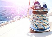 image of yachts  - Sailboat winch and rope yacht detail - JPG