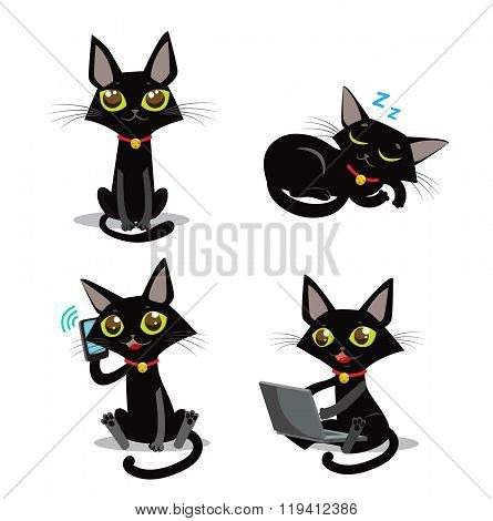 poster of Black Cat. Sitting Cat. Sleeping Cat. Cat And Phone. Cat And Smartphone. Cat And Computer. Vector Cat. Vector Illustration. Black Cat Plush.