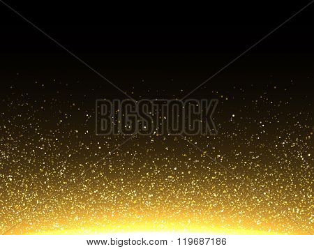 Vector gold glitter particles background effect  for luxury greeting rich card. Sparkling texture. S