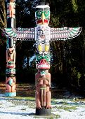 stock photo of totem pole  - totem pole in stanley park vancouver canada - JPG