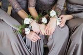 Постер, плакат: Bridesmaids With Wedding Bouquet Of Flowers