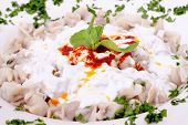 foto of tatar  - Delicious Turkish tatar borek manti also called dumpling - JPG