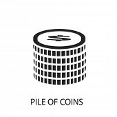 Постер, плакат: pile of coins icon pile of coins logo pile of coins icon vector pile of coins illustration pile