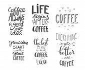 Постер, плакат: Quote Coffee Vector Typography Set