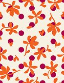 Floral and polka dots seamless pattern illustration