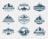 Постер, плакат: Set Of Vector Mountain And Outdoor Adventures Logo