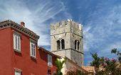 Belfry Old Lutheran Church. The Town Of Motovun, Croatia