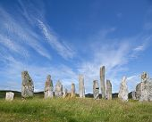 stock photo of gneiss  - sunlit standing stones at callanish lewis western isles scotland - JPG