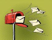 Cartoon Pop Art Mailbox Send Letters. poster