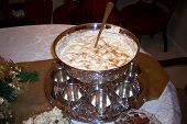 pic of punchbowl  - this beautiful silver punch bowl contains eggnog for party guests.
