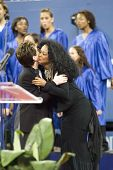 NEW YORK - AUGUST 28: Diana Ross (R) kisses Billie Jean King during the opening ceremony of the US Open at the USTA Billie Jean King National Tennis Center on August 28, 2006 in Flushing, New York.