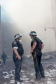 NEW YORK - SEPTEMBER 11:  Two New York City police officers speak to one another near the area known