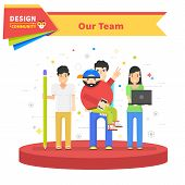 Постер, плакат: Our Success Team Linear Flat Design