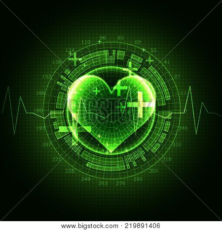 poster of Abstract medical background. Cardiogram theme. Vector illustration