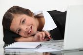 Girl dresses as a businesswoman