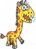 Crazy Insane Wild Giraffe Vector Illustration cartoon character