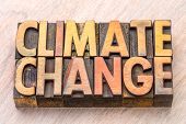 climate change concept - words in vintage wooden letterpress printing blocks poster